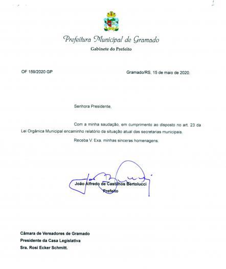 Prefeito envia mensagem do Executivo à Câmara